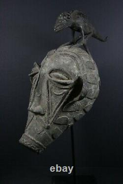 African Bronze Mask with Fable Figure on top TIKAR Cameroon, TRIBAL ART CRAFTS