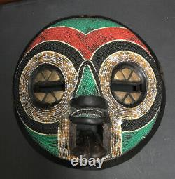 African Wooden Mask Beaded Tribal Round Wall Art 12