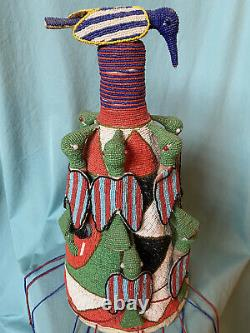 African Yoruba Tribal Beaded Crown 17 Tall Excellent Condition