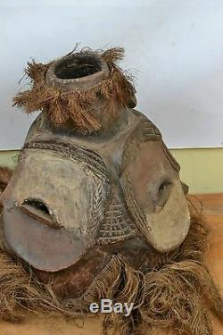 African tribal art, Bembe Helmet with Multiple Faces from Kalunga
