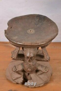 African tribal art, very old Chokwe stool from Democratic Republic of Congo