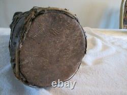 Antique African Wood Carved Tribal Drums Set of Three with animal faces