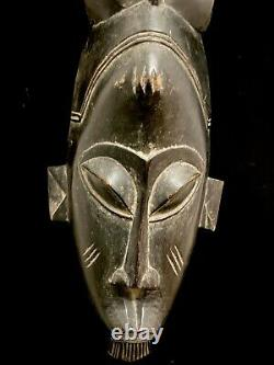 Mask Guro African Coast Art Tribal Carved Hand Wood Tribe Vintage (1298)