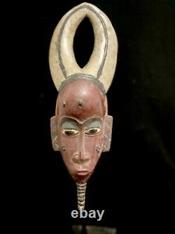 Mask Guro African Coast Art Tribal Carved Hand Wood Tribe Vintage (1307)