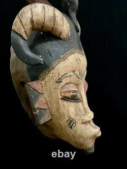 Mask Guro African Coast Art Tribal Carved Hand Wood Tribe Vintage (1309)
