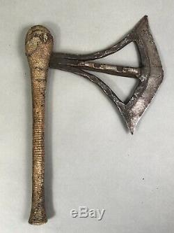 Old African Congo Songye Tribal Axe with Monitor Skin