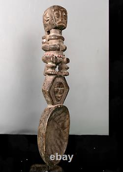 Old Tribal Fang Reliquary Spoon Figure - Cameroon BN 74