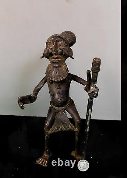 Old Tribal Large Bronze Bamum Figure with a Walking Stick - Cameroon AWH