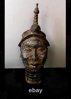 Old Tribal Large Bronze Ife (head of Oba) King Head - Cameroon AWH BN