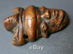 Old West African Art Pende Bovine Bone Fine Carving Pendant Small Tribal Charm