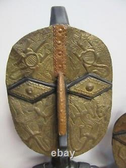 Pair Of African Tribal Mask Folk Art Hand Carved Wood Applied Brass & Copper