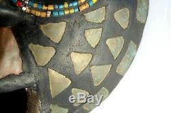 Stunning African Wood Carved Tribal Mas Owl Face with Beads Ashanti Ghana