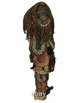 Tall 40 Vintage Authentic AFRICAN Tribal Mask Seashell Embellished Statue Art