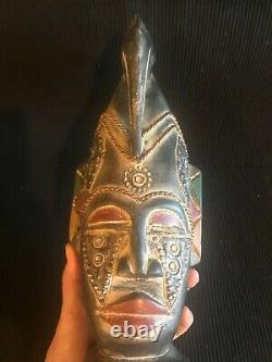 Vintage African Carved Wood Tribal Face Mask Wall Hanging Bird Head-dress