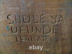 Vintage African Tribal Art Wall Art Hand Carved Wood 46 Inch Tall