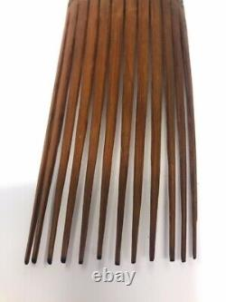 Vintage Hand Carved Papua New Guinea Tribal Wood Hair Comb Pick 3 x 9